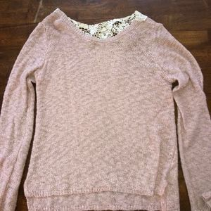 Pink Knit Sweater with Crochet Back